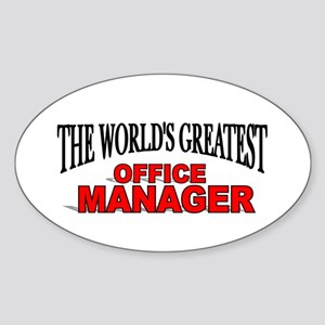 """The World's Greatest Office Manager"" Sticker (Ova"