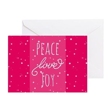 Peace Love Joy - Snowy - Magenta Greeting Cards