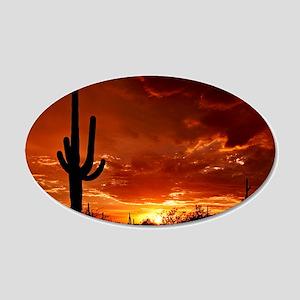Saguaro Sunset-2 20x12 Oval Wall Decal
