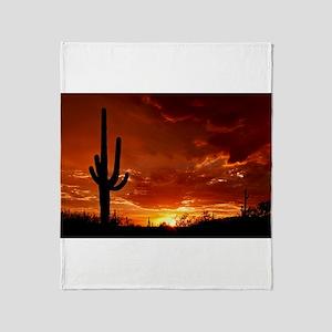 Saguaro Sunset-2 Throw Blanket