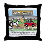 Cow Races Throw Pillow