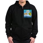 Fish Brain Food Zip Hoodie (dark)