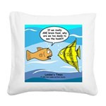 Fish Brain Food Square Canvas Pillow