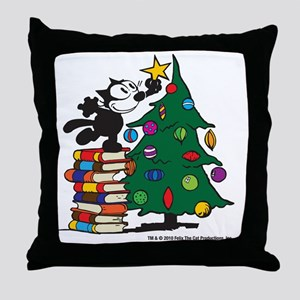 FELIX TOPPING THE TREE copy Throw Pillow