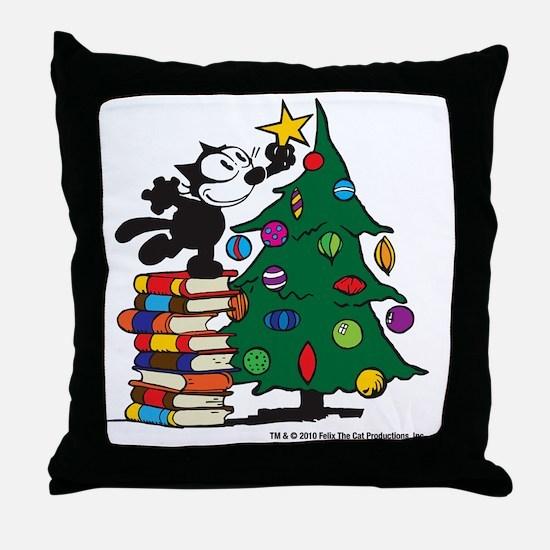 FELIX TOPPING THE TREE copy Throw Pillow