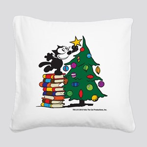 FELIX TOPPING THE TREE copy Square Canvas Pillow