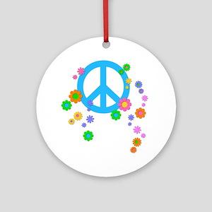 peace08-white Round Ornament