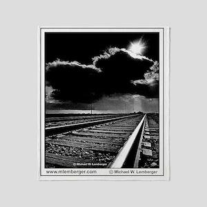 XRR-Railroad Tracks into Sun  Storm  Throw Blanket