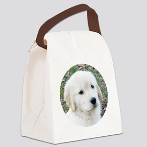 Golden Retriever Puppy Buttons, M Canvas Lunch Bag