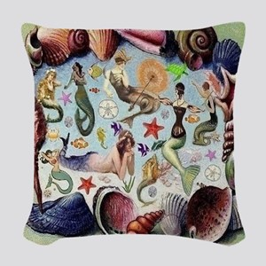 Mermaids Woven Throw Pillow