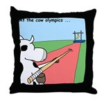 Cow Olympics Throw Pillow