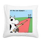 Cow Olympics Square Canvas Pillow
