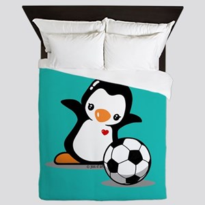Soccer Penguin Queen Duvet