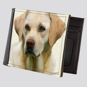 Yellow Lab in gold and black frame Mens Wallet