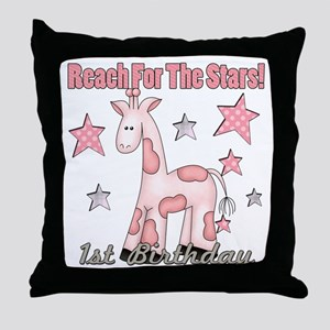 1st Birthday Giraffe Pink Throw Pillow