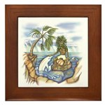 Green Man and Dolphin 082017 Framed Tile