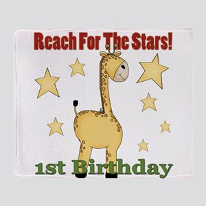1st Birthday Giraffe Throw Blanket