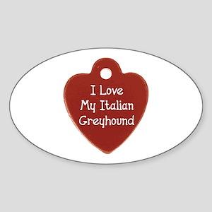 Greyhound Tag Oval Sticker