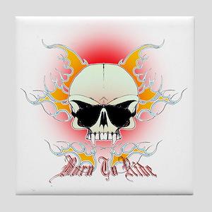 skull, flames Born to ride Tile Coaster