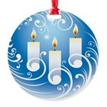 Holiday Candles Round Ornament