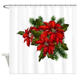 Christmas Poinsettia Shower Curtains