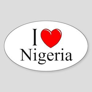 """""""I Love Nigeria"""" Oval Sticker"""