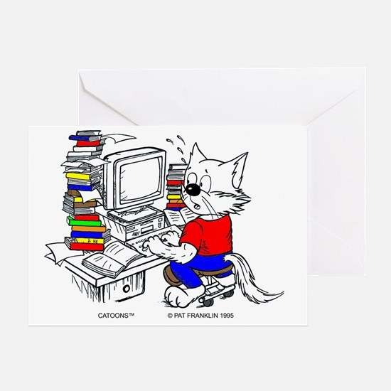 Computer Cat in Color by Computer Greeting Card