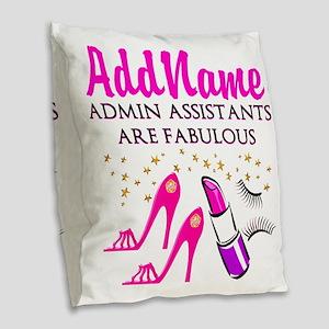 BEST ADMIN ASST Burlap Throw Pillow