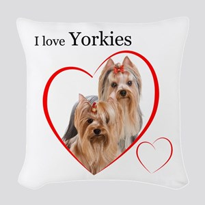 Yorkie Love Woven Throw Pillow
