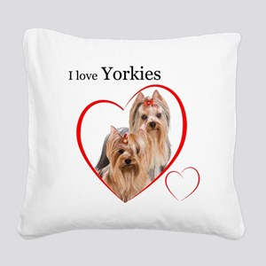 Yorkie Love Square Canvas Pillow