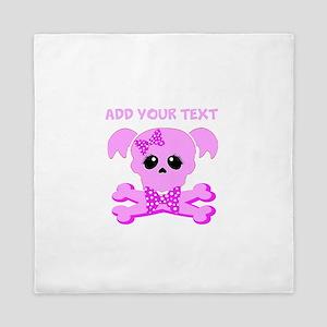 Personalized Pink Skull Queen Duvet
