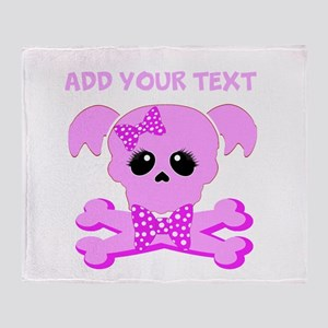 Personalized Pink Skull Throw Blanket
