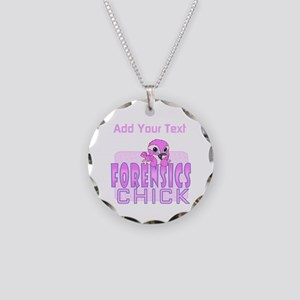 Forensics Chick Necklace Circle Charm