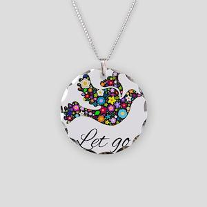 Let Go Bird Necklace Circle Charm