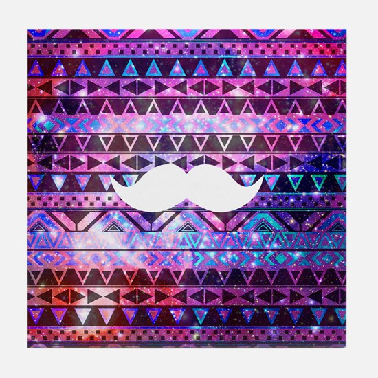 Girly White Mustache Aztec Pink Teal  Tile Coaster