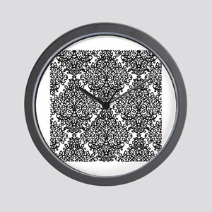 Black and white Diamond damask pattern Wall Clock