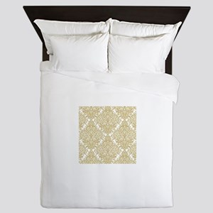 Gold and white diamond damask Queen Duvet