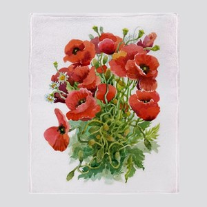 Watercolor Poppies Blanket