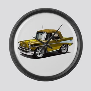 BabyAmericanMuscleCar_57BelR_Gold Large Wall Clock
