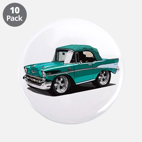 "BabyAmericanMuscleCar_57BelR_Green 3.5"" Button (10"