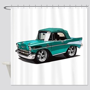 BabyAmericanMuscleCar_57BelR_Green Shower Curtain