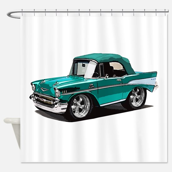 BabyAmericanMuscleCar_57BelR_Green Shower Curtain