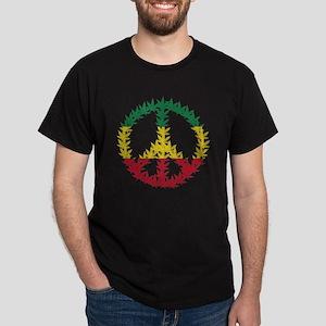 Rastafari Cannabis Peace Symbol Dark T-Shirt