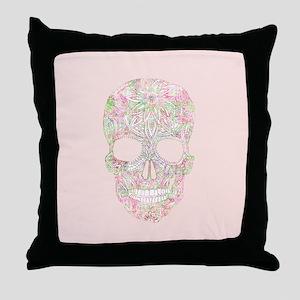 Girly Pink Floral Paisley Sugar Skull Throw Pillow
