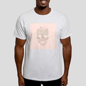 Girly Pink Floral Paisley Sugar Skul Light T-Shirt