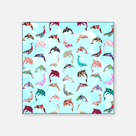 "Girly Whimsical Dolphins Fl Square Sticker 3"" x 3"""