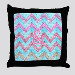 Pink Glitter Ampersand Girly Teal Pur Throw Pillow