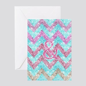Pink Glitter Ampersand Girly Teal Pu Greeting Card