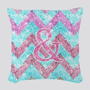 Pink Glitter Ampersand Girly T Woven Throw Pillow