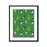 Christmas Horns Bells Framed Panel Print
